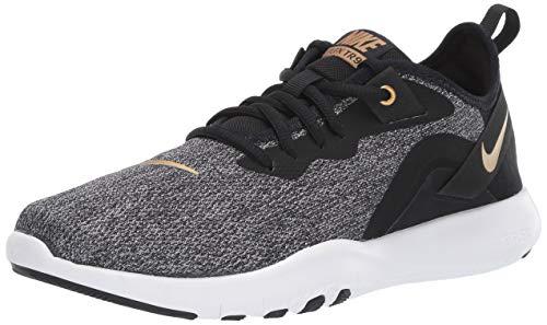 Nike Women's Flex Trainer 9 Sneaker, Black/Metallic Gold - Gunsmoke, 8 Regular US