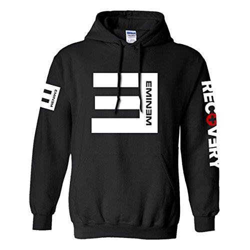 Nedal Printed Hoodies Sweatshirt Men Fleece Long Sleeves Pullover Hooded Black,XL