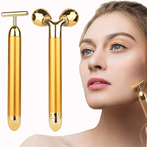 2 in 1 Face Massager Roller 24k Facial Golden Pulse Electric 3D Roller and T Shape Arm Eye Nose Head Massager Instant Face Lift Anti Wrinkles Skin Tightening Face Firming