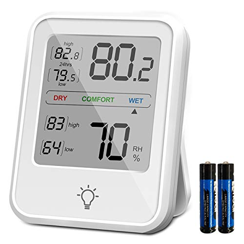 HyFo Green Digital Thermoeter Hygrometer, Thermometer Humidity Gauge Temperature Humidity Meter Backlight Monitor Indoor Thermometer for Home, Office, Greenhouse, Battery Included