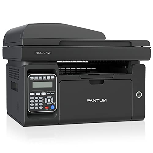 Pantum M6602NW All-in-One Monochrome Laser Printer Copier Scanner Fax with Wireless Ethernet & USB2.0 Capabilities, 150 Pages Paper Input Capacity (V7W99B)