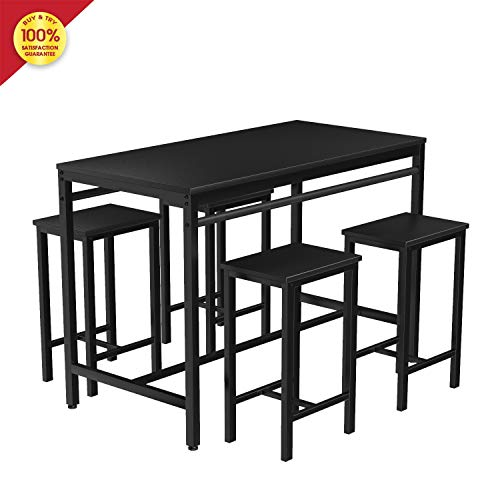 MIERES 5-Piece Dining Table Set, Counter Height Table with Metal Legs, Breakfast Nook Table Set, Bar Table with 4 Bar Stools, Perfect for Kitchen/Restaurant/The Bar, Black