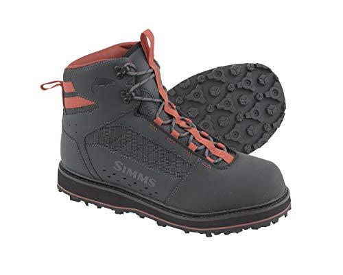 Simms Tributary Rubber Sole Wading Boots Adult, Waterproof Fishing Boots, Carbon, 9