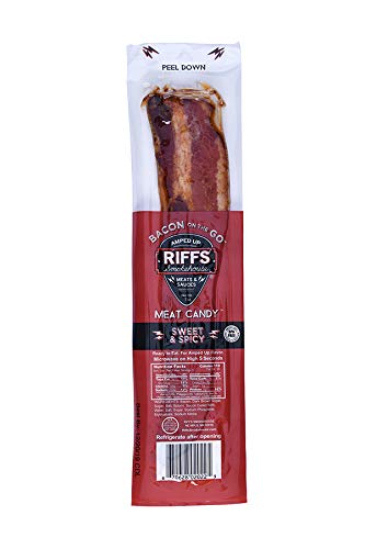 Bacon On The Go by Riffs Smokehouse - SWEET & SPICY - Pack of 12 Individually Sealed Strips of Bacon