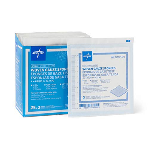 Medline Gauze Sponge Sterile 12 Ply, 50 Count