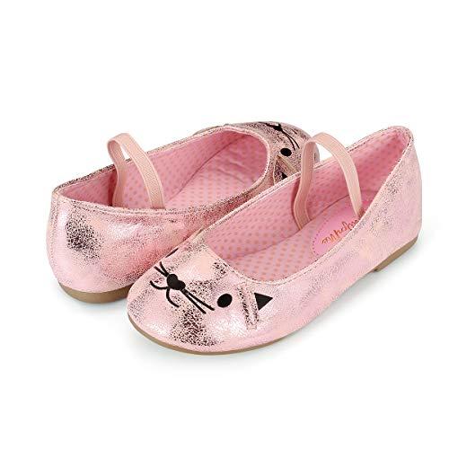 K KomForme Toddler Girls Flat Shoes Non-Slip Soft Ballet Mary Jane Walking Shoes, Pink Cat, 12 Little Kid