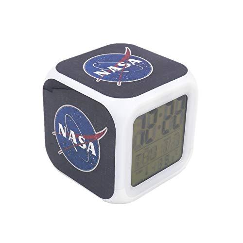 Boyan New NASA Space Aerospace Blue Led Alarm Clock Creative Desk Table Clock Multipurpose Calendar Snooze Glowing Led Digital Alarm Clock for Unisex Adults Kids Toy Gift