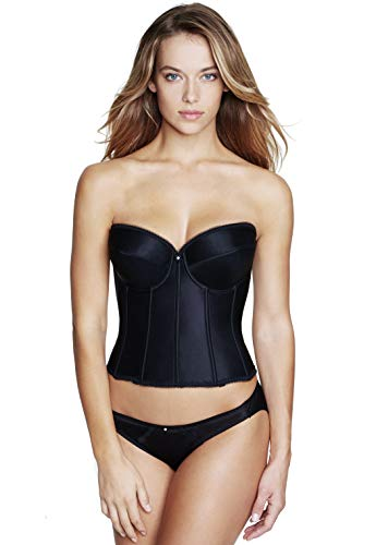 Dominique Satin Low Back Strapless Underwire Bustier Style 7750 - Black - 36DD