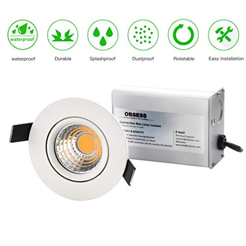 OBSESS 3-Inch IP54 Waterproof Shower Light 8W COB LED Downlight, Damp Location Use, Shower Lights Adjustable Gimbal Trim Ceiling Recessed Light, White, Aluminum, Dimmable, Warm White 3000K