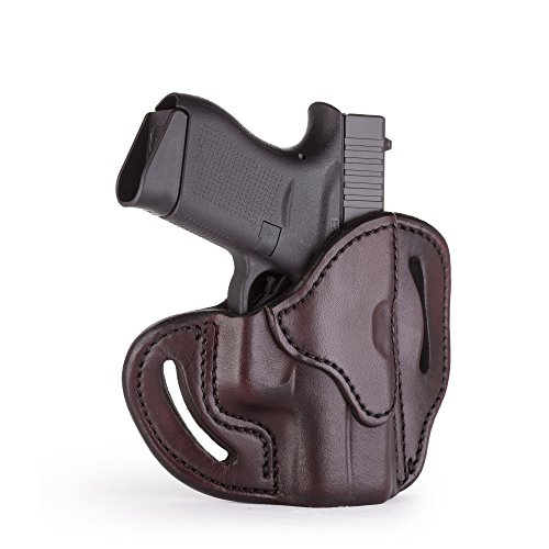 1791 GUNLEATHER Glock 43 Holster, Right Hand OWB G43 Leather Gun Holster for Belts. Fits Glock 43 and Ruger LC9 & Ruger SR22 (Signature Brown)