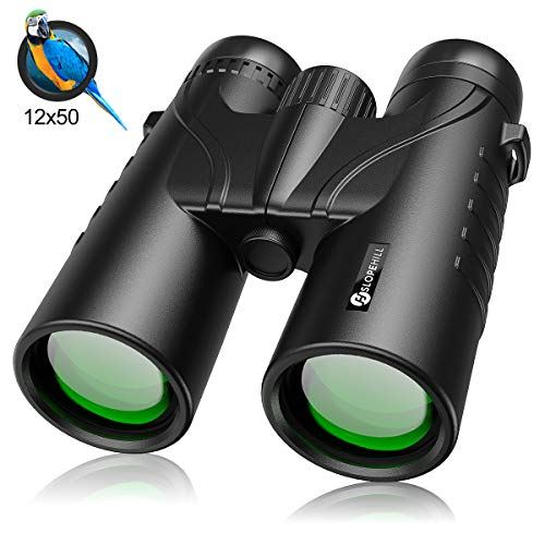 12 x 50 Binoculars for Adults, slopehill Powerful Waterproof Bird Watching Binoculars with BAK4 Lens, Low Light Night Vision Large Eyepiece Binoculars for Hunting, Hiking, Sports Games and Concerts