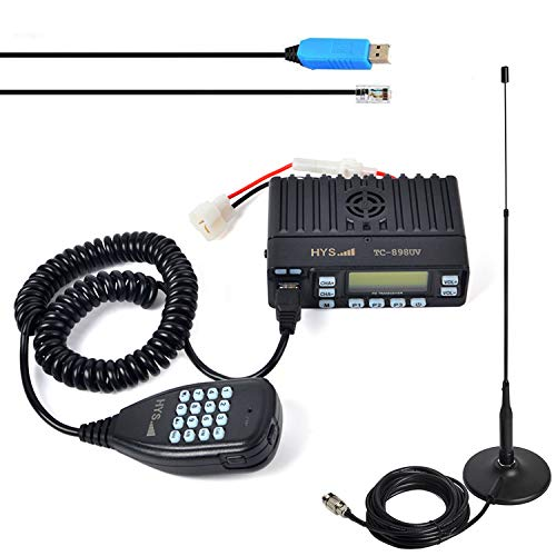 HYS 25W Car Dual Band VHF/UHF Mobile Transceiver Vehicle Handheld Microphone Two Way Radio Compitable with 110mm Ultrathin Magnetic Roof Mount Base and Flexible Telescopic Antenna