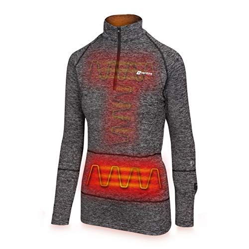 Venture Heat Women's Heated Shirt Thermal Underwear with Battery Pack - Long John, 1/4 Zip Electric Base Layer, Nomad (XS, Charcoal)