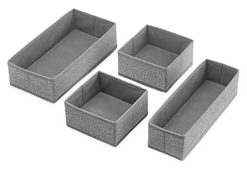 Whitmor Set of 4-Crosshatch Gray Drawer Organizer