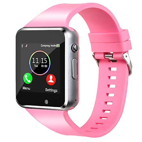 Smart Watch,Unlocked Smartwatch Compatible Bluetooth/Android Phone Touchscreen Call Text Music Player Notification Sync Camera Smart Watches for Women Men Kids(Lightpink)