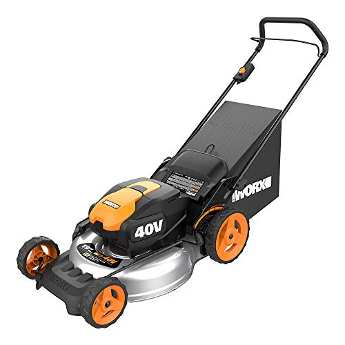 WORX WG751 40V Power Share 5.0 Ah 20' Lawn Mower w/ Mulching and Side Discharge Capabilities (2x20V Batteries)