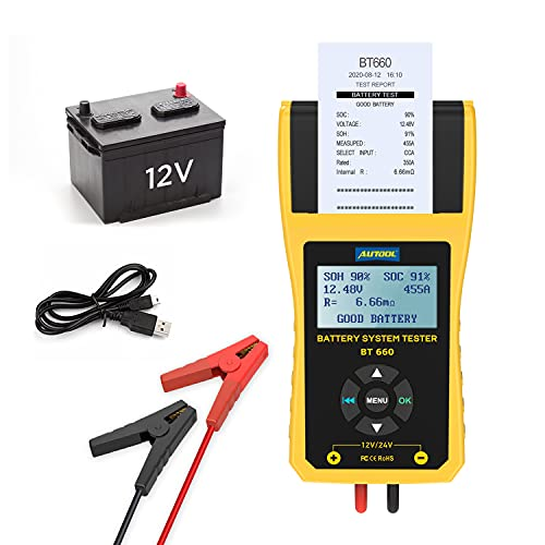 Car Battery Tester Autool BT-660 Car Battery Conductance Tester 100-3000 CCA Automotive 12V Digital Battery Analyzer Cranking Charging System Tester with Data Printer for Heavy Truck, Car, Motorcycle