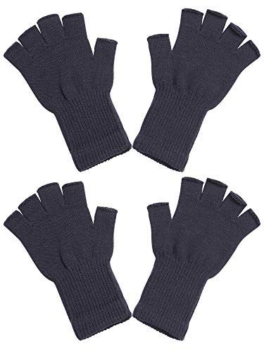 Cooraby 2 Pairs Unisex Half Finger Gloves Winter Stretchy Knit Fingerless Typing Gloves (Dark Gray, Length 8 inches)