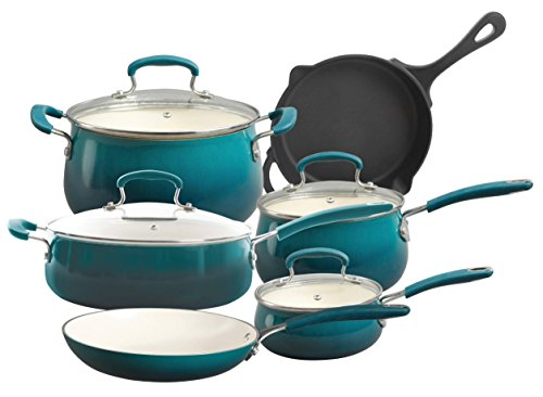 The Pioneer Woman Vintage Speckle 10-Piece Non-Stick Pre-Seasoned Cookware Set (Turquiose)