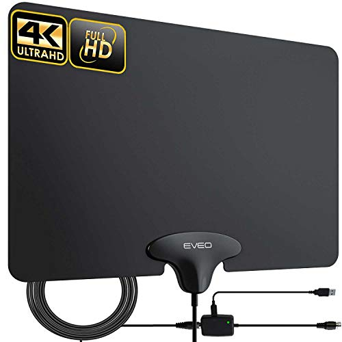 TV Antenna - EVEO Ultra-Thin Amplified Indoor HDTV Antenna, Digital Antenna for HDTV Indoor - HD Antenna for tv Indoor, Digital TV Antenna, HDTV Antenna, Model (T)