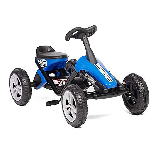 LONABR Pedal Go Kart Ride on Toys 4 Wheel Kids' Pedal Car Racer with EVA Rubber Tires for Outdoor for Boys & Girls