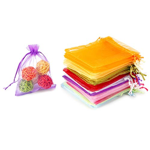 WenTao 100PCS Organza Gift Bags, 4x4.72' Mixed Color Wedding Favor Bags with Drawstring, Premium Candy Jewelry Pouch Party Wrap