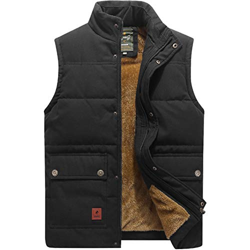 Flygo Men's Winter Warm Outdoor Padded Puffer Vest Thick Fleece Lined Sleeveless Jacket (Style 02 Black, Large)