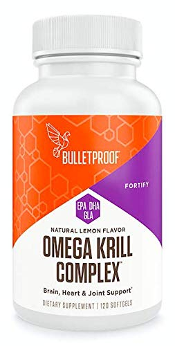 Bulletproof Omega Krill Complex, 1560mg Omega 3 with EPA, DHA, GLA and Astaxanthin Supports Heart and Brain Health, Lemon Flavored, 120 Softgels