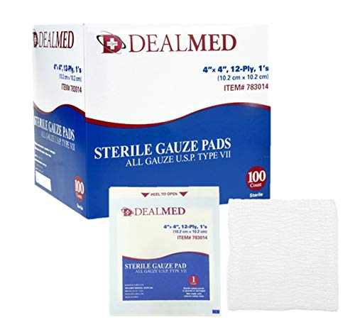 Dealmed 4'' x 4'' Sterile Gauze Pads, Individually Wrapped for Wound Dressing, Absorbent Gauze Sponge Pads for First Aid, Home Kits, and Wound Care, 100 Count (Pack of 1)
