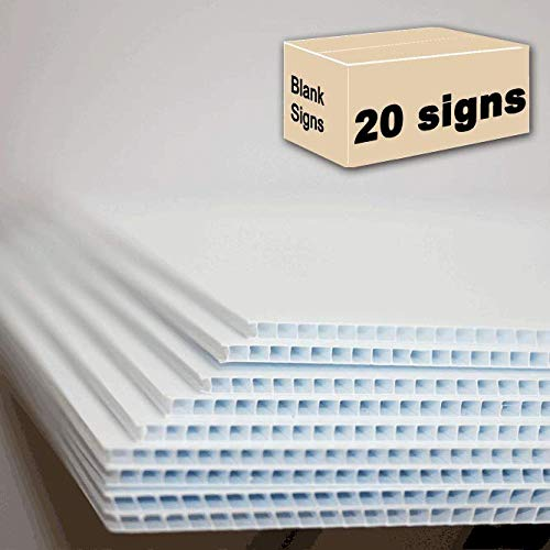 20 White Signs Blank 18x24 inch x 4 MM Corrugated Plastic Signs Blank, pack of 20 pieces, ship same day!
