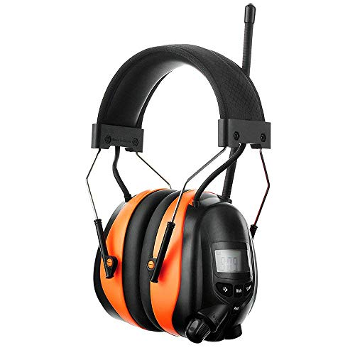 PROTEAR Bluetooth AM FM Radio Noise Reduction Safety Ear Muffs with Rechargeable Lithium Battery - Adjustable NRR 25dB Electronic Ear Hearing Protection lawn mower work headphones