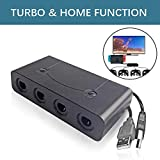 Gamecube adapter for switch,Wii U GameCube Controller Adapter, Turbo Mode And Home Button,Updated Version GameCube Converter for Nintendo Wii U Super Smash Bros/ Switch/ PC/ Mac, 4 Ports and No Need