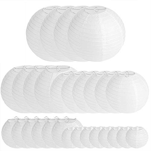 28 Packs White Paper Lanterns Decoration for Weddings, Birthdays, Parties and Events - Assorted Round Sizes (4',6',8',10',12')