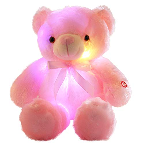 sofipal LED Teddy Bears Stuffed Animals, Cute Glow Bear Plush Toys Creative Colorful Luminous Light Up Doll Gifts for Bedroom, Kids, Baby, Valentine (Pink,18 inch)