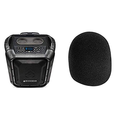 ECOXGEAR EcoBoulder+ GDI-EXBLD810 Rugged Waterproof Floating Portable Bluetooth Wireless 100 Watt Speaker and PA System (Gray) & DZT1968 1PC On Stage Foam Ball-Type Mic, New Black