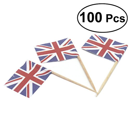BESTOYARD Flag Picks Union Jack Cupcake Toppers for Party Favors Birthday Wedding Baby Shower National Day Food Toothpicks 100 Pcs