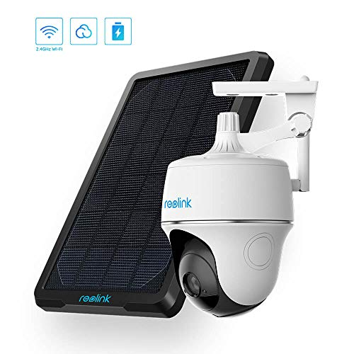 Reolink Argus PT w/Solar Panel - Wireless Pan Tilt Solar Powered WiFi Security Camera System w/Rechargeable Battery Outdoor Home Surveillance, 2-Way Audio, Support Alexa/Google Assistant/Cloud