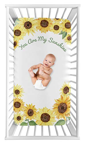 Sweet Jojo Designs Yellow, Green and White Sunflower Boho Floral Girl Baby or Toddler Nursery Fitted Crib Sheet - Farmhouse Watercolor Flower, You are My Sunshine