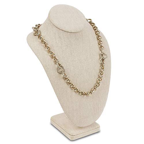 MOOCA Necklace Chain Jewelry Bust Display Holder Stand, Display Necklace Mannequin, Necklace Bust Jewelry Bust Stand, Pendant Chain Organizer for Women 7 1/2'W x 4 1/8'D x 11 1/4'H, Tan Linen