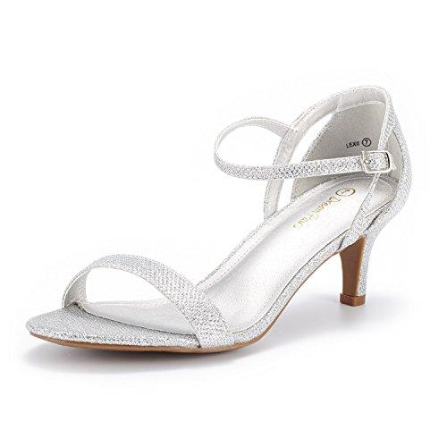 DREAM PAIRS Women's Lexii Silver Glitter Fashion Stilettos Open Toe Pump Heel Sandals Size 8 B(M) US