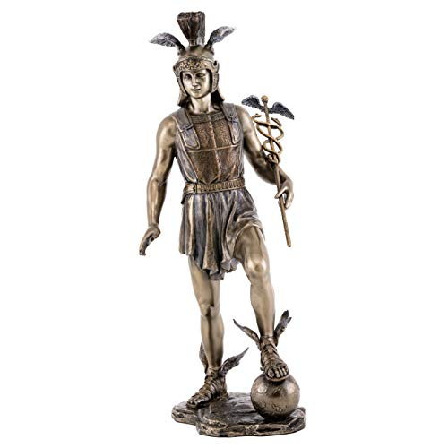 Top Collection Mercury Statue- Olympian Greek God of Transitions and Boundaries Sculpture in Premium Cold Cast Bronze- 12.75-Inch Collectible Son of Zeus Figurine