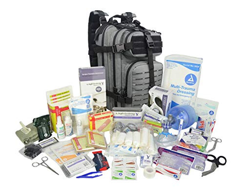 Lightning X Stocked EMS/EMT Trauma & Bleeding First Aid Responder Medical Backpack + Kit (Grey)
