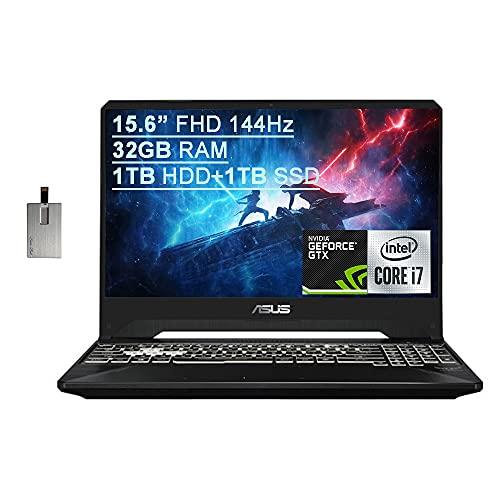 "2021 Asus TUF Gaming FX505 15.6"" FHD 144Hz Laptop Computer, 9th Gen Intel Core i7-9750H, 32GB RAM, 1TB HDD+ 1TB SSD, Backlit KB, HD Webcam, GeForce GTX 1650 GPU, Win 10, Black, 32GB SnowBell USB Card"