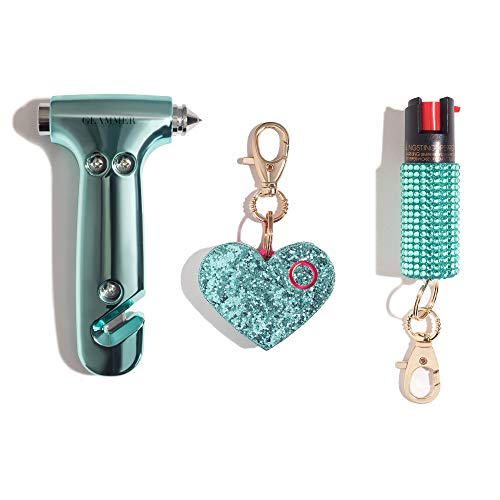 BlingSting Safety Kit - Includes Emergency Auto Escape Seat Belt Cutter & Window Break Tool, Personal Security Alarm, and Self Defense Pepper Spray - Mint