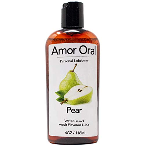 Amor Oral Pear Flavored Lube, Edible and Body Safe, Water-Based Personal Lubricant 4 Ounce Pear