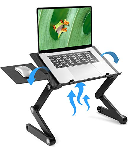LORYERGO Adjustable Laptop Stand - Laptop Table Stand with 2 CPU Cooling Fans, Portable Laptop Desk for Bed & Sofa, Fits up to 15.6 Inch Laptops, Ergonomic Lap Desk Bed Tray Standing Desk