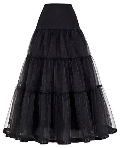 Net Bridal Crinoline Petticoat for Wedding Dress (S,Black)