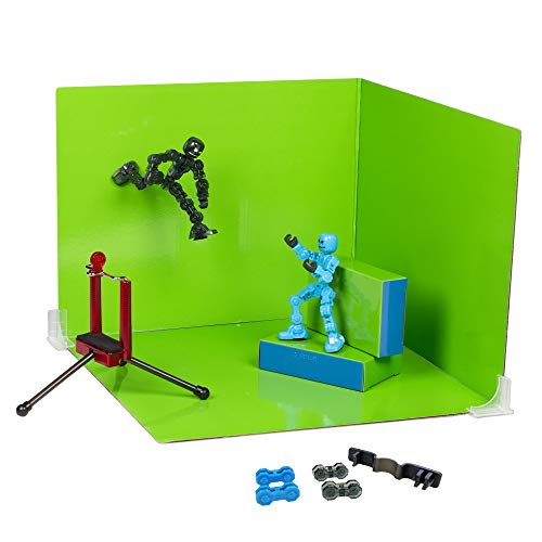Zing Klikbot Zanimation Studio, Includes 2 Klikbots, Phone Stand/Holder and 2 Sided Backdrop Screen