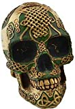 Toy Banks Coin Money Container Celtic Viking Grinning Green Skull Gold Lacework Hand Painted