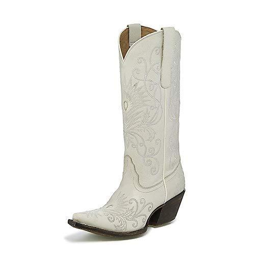 Tony Lama Ladies Sq Toe Cuervo Ivory Boots 8 B